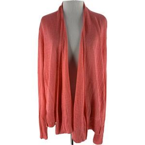 Eileen Fisher Coral 100% Linen Cardigan Size XL